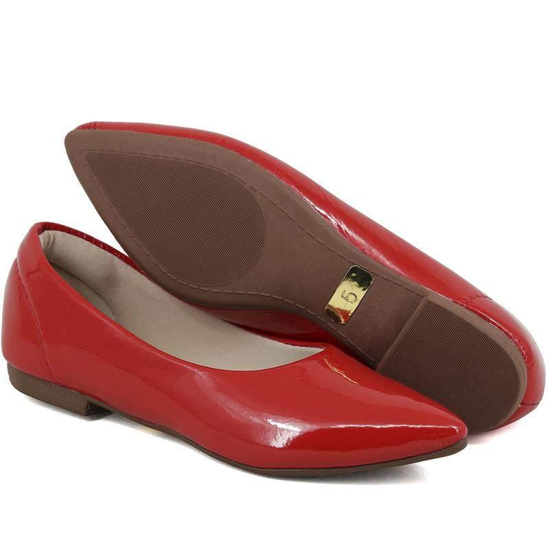 67155c644 ... Kit 2 pares de sapatilhas bico fino verniz nude e vermelho3 ...