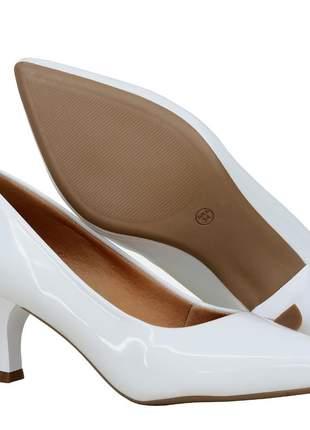 Scarpin sapato salto baixo verniz branco