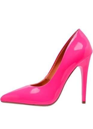 Scarpin sapato feminino salto alto bico fino verniz rosa