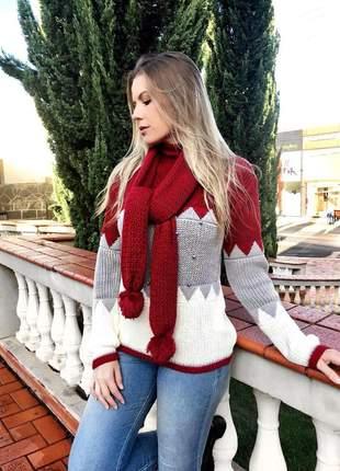 Blusa com detalhes em pérolas e  cachecol lançamento instagram 2019