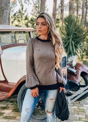 Blusa de mousse com detalhes outono inverno 2019