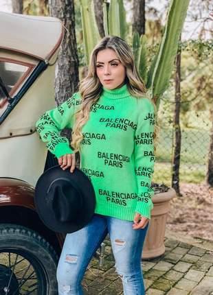 Blusa cacharrel em tricô com detalhes escrito paris outono inverno 2019