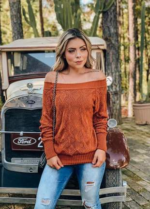 Blusa de tricô ombro a ombro outono inverno 2019