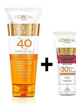 Kit protetor solar l'oréal ação repelente fps40 - 120ml + protetor solar facial expertise