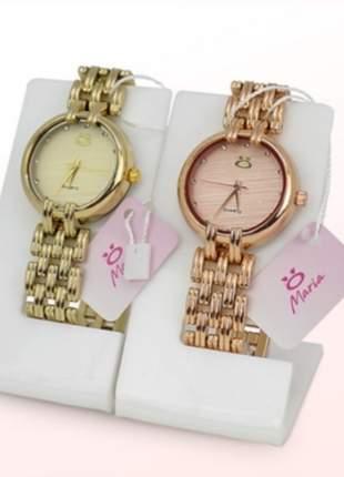 Kit 2 relógios maria - dourado/rosé  - lançamento