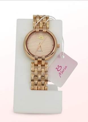 Relógio maria - luxo - cor: rosé - lançamento