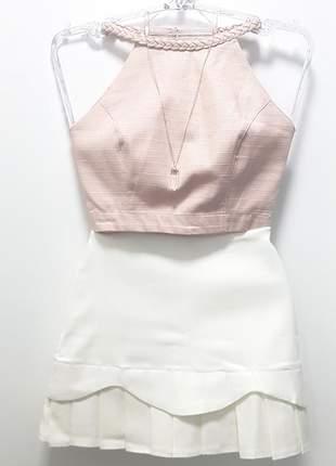 Cropped trança rosa bebê