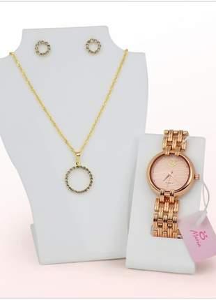 Lindo kit relógio + colar + par de brincos