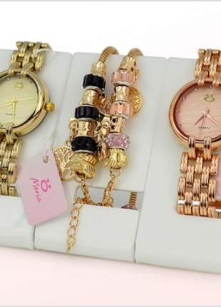 Lindo kit 2 relógios + 2 pulseiras