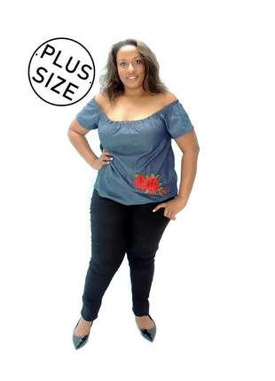 Blusa infinity fashion plus size rosa azul jeans