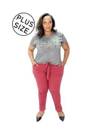 Blusa infinity fashion plus size aplicações cinza