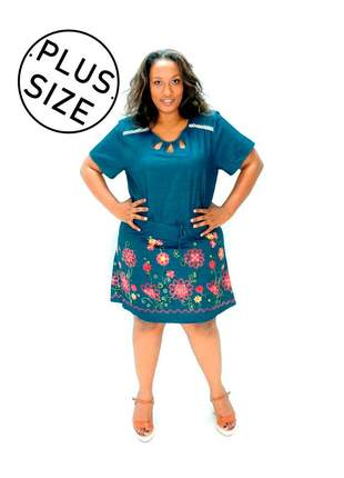 Vestido infinity fashion plus size bordado azul jeans