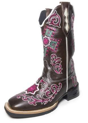 Bota texana feminina bico quadrado café bordado rosa