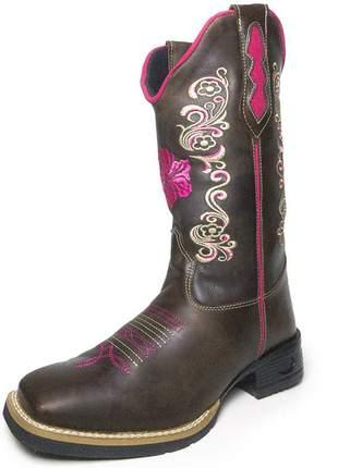 Bota texana feminina bico quadrado bordado flor
