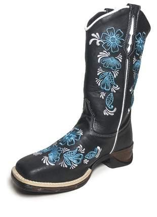 Bota texana preta feminina bico quadrado bordado flor azul