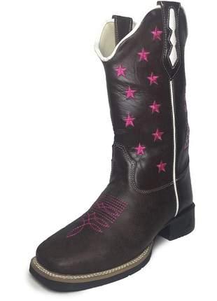 c0f3354fb Bota texana feminina bico quadrado bordado flor - R$ 299.90 (cano ...