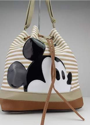Bolsa saco do mickey listrada