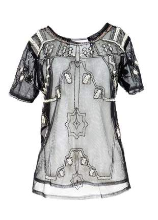 Blusa infinity fashion transparente preto
