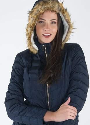 Jaqueta feminina em nylon forrada com pelos e capuz