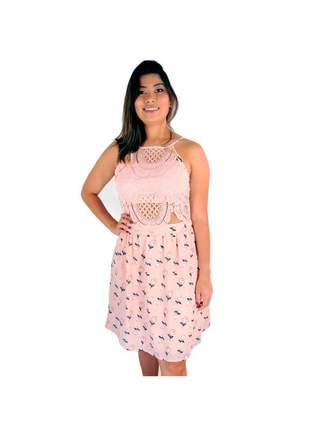 Vestido infinity fashion guipir floral rosa