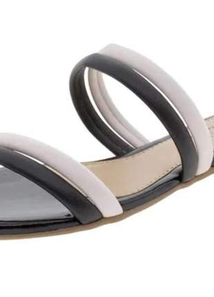 Sandália feminina rasteira preto/bege beira rio - 8328126 -