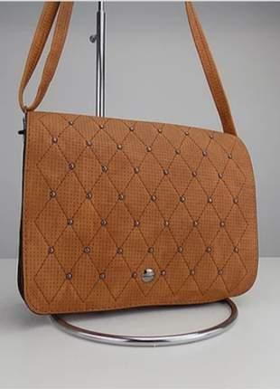 Bolsa com alça transversal de couro