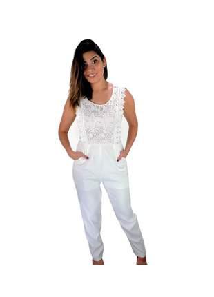 Macacão infinity fashion rendado branco
