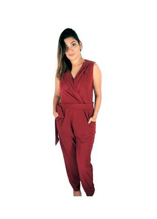 Macacão infinity fashion decote v marsala