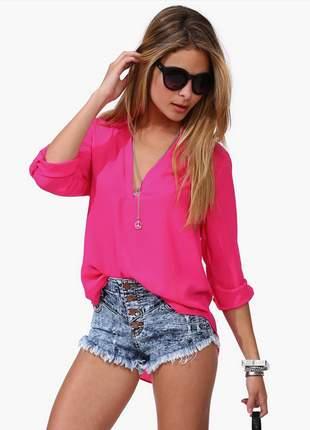 Camisa blusa chiffon decote