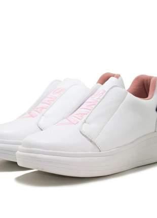 Tenis feminino vans iate casual branco rosa
