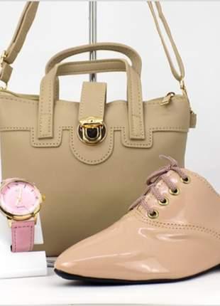 Kit com bolsa + sapato + relógio