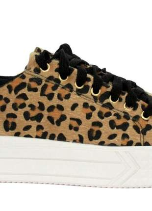Tenis dali shoes flatform animal print oncinha feminino