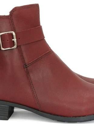 Bota couro dali shoes cano curto salto baixo vermelha