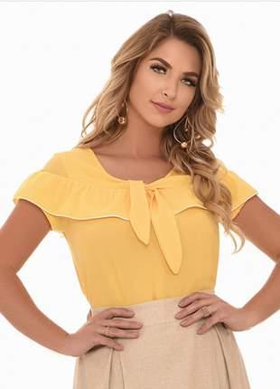 Blusa fasciniu's fascinius amarela  bordada moda evangélica