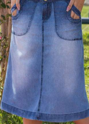 Saia jeans  longuete evangelica midi