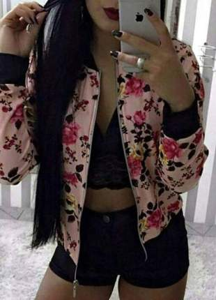 Jaqueta florida rosa