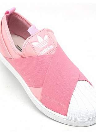 Tênis adidas slip on elástico rosa
