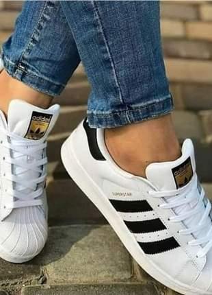 Tênis couro adidas superstar branco