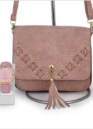 Kit com bolsa tiracolo + relógio dourado