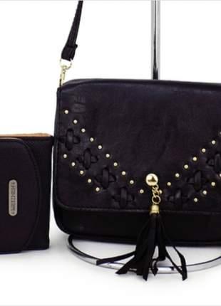 Kit com bolsa tiracolo + carteira
