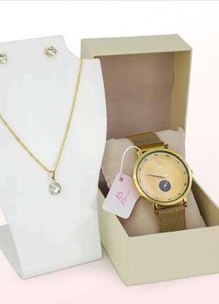 Relógio com pulseira magnética luxo + par de bricos + colar