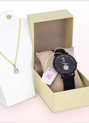 Relógio pulseira magnética luxo + par de brincos + colar