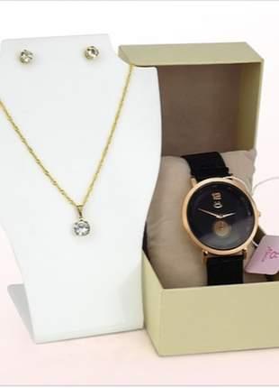 Relógio com pulseira magnética luxo + par de brincos + colar