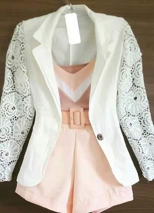f96e4ac602 Casaco casaquinho estilo blaser com renda guipir na manga - R ...