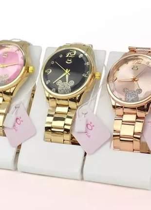 Kit 3 relógios luxo original da minnie