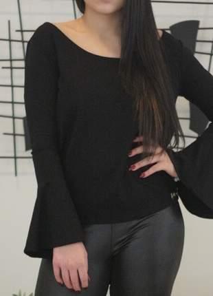 Blusa feminina manga longa flare