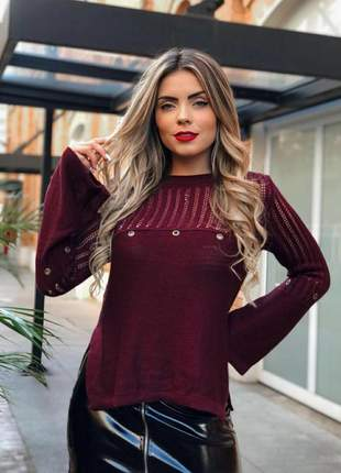 Blusa feminina tricô manga longa flare vinho inverno promoção
