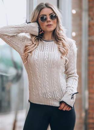 Blusa de frio off tricot moda inverno detalhe laço manga longa
