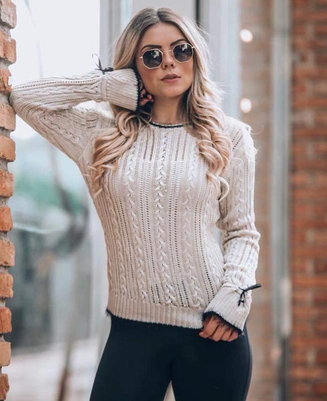 e53dcf9c9 Blusa de frio off tricot moda inverno detalhe laço manga longa - R ...