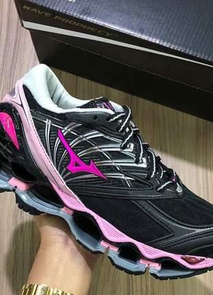 Tênis mizuno wave prophecy 8 preto /rosa